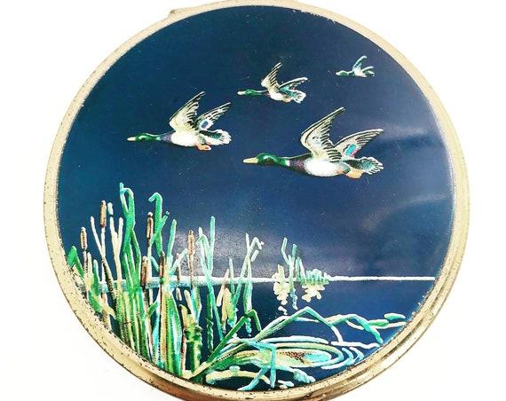 Vintage Stratton compact powder mirror Ducks flying Purse Vanity enamel flowers vanity mirror bag hand mirror enameled blue gift collection