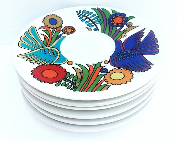 Acapulco Saucers Plates, Small Plates Border Design by Villeroy and Boch of Luxemburg, Acapulco Pattern by Christine Reuter , 1960s