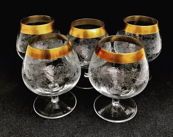 Brandy cognac glasses vintage set 5 golden rim etched Mid Century Liquor glass bar cart 1960s barware hollywood Regency decor