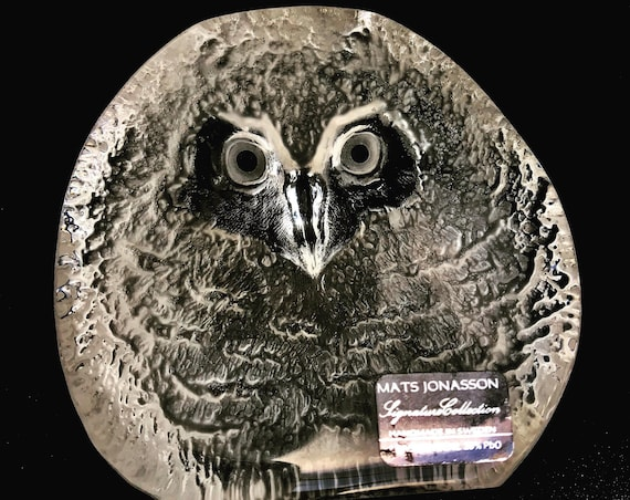 Glass Paperweight Mats Jonasson Owl Royal Krona Lead Crystal Glass Etched Swedish Art Glass 1970s  Sculpture owl Figurine desk decor