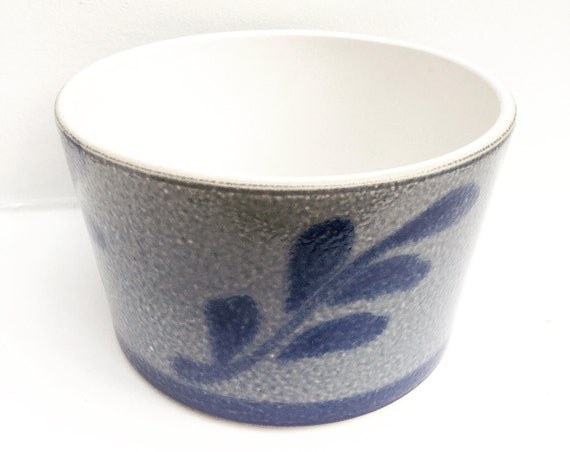 Plant pot indoor cache pot outdoor Betschdorf Alsace France Saltglazed Pottery, French Country Blue cobalt Antique Grey Ceramic Stoneware.