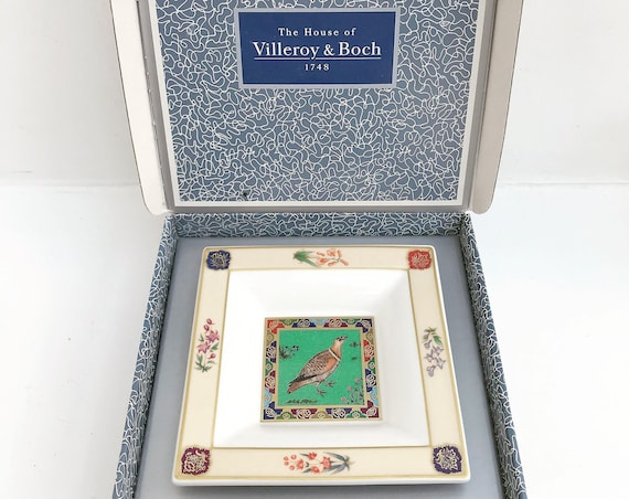 Villeroy and Boch square dish coin dish ring catch all candy nuts olives  tray trinket porcelaine Vintage Heinrich Bengal Saraswati Bird