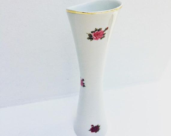 Hungarian Hollohaza vase, romantic white porcelain vase, roses gold rimmed Hollohaza Hungary 1831 Porcelain Flower Vase,  Pink and Red Rose