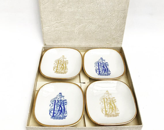 Pin dish Limoges France small porcelain decorative  plates Trinket Dish Vintage Jewelry Tray , Dresser Tray White and Gold with Initials BA