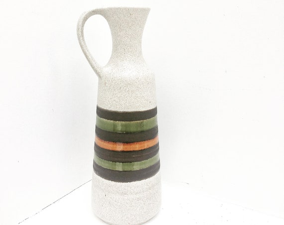 West Germany Pottery vase by Dumler and Breiden form Mid Century green gray orange pottery ceramic 1960s 1970s pitcher with handle MCM