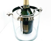 Christofle Champagne Ice Bucket Fleuron Vintage Silver Plated Glass wine cooler chiller bar cart decor bartender gift for him wedding gift