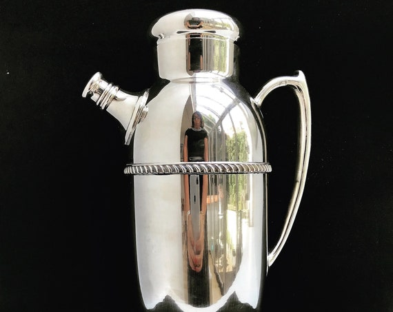 Cocktail shaker Extra Large Antique Poole Silver Plated Martini Shaker 1002 Cocktail Art Deco Mid Century Modern Pitcher jug Drinks Mixology