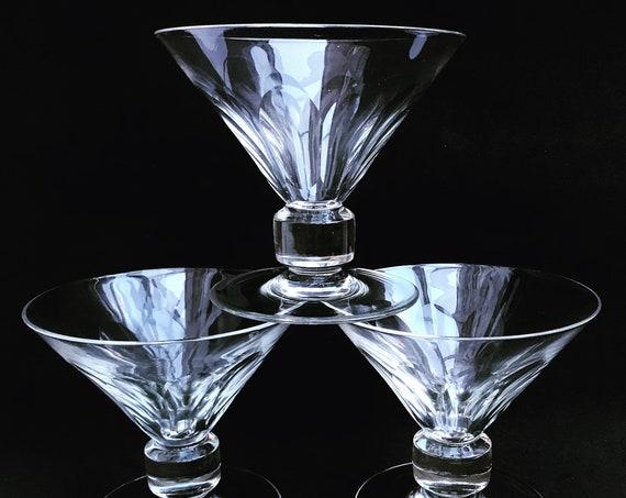 Champagne glasses Set 3 crystal cut Val Saint lambert Liquor cocktail low sherbet coupes 1920s Art Deco Vintage bar cart wedding decor gift