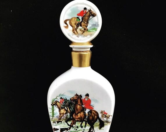 English Fox Hunt Scene Whisky Decanter Empty Bottle ceramic Vintage Equestrian Hunting Barware Hunter Whiskey tasting gift for him