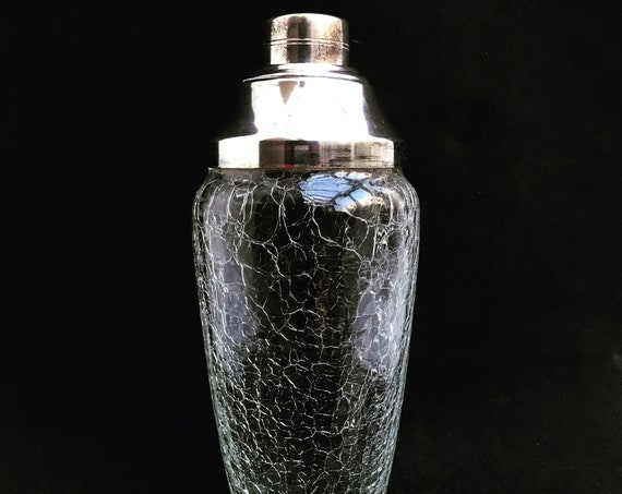 Cocktail Shaker glass Mid Century Bar Silver plated Shaker, Bar Accessories, Mid Century, 1950s fathers day gift bartender bar cart decor