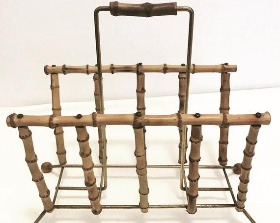 Magazine rack holder Bamboo Vintage 60s French Boho Chic sputnik Atomic era Newspaper stand rattan Mid Century home decor bohemian Tiki gift