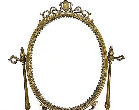 Vintage Table Top Mirror Oval Vanity on Pedestal French Brass Vanity dressing table make up Hollywood Regency, Wedding Gift Dresser Mirror