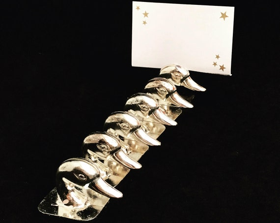 Place card holder Vintage set six silver plate duck  ducks Mark seat, Table Name card Name Card Slot, name card 1960s animal lover gift