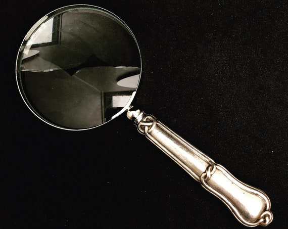 Sterling Silver handle Vintage Magnifying Glass Desk  Ancient magnifier round Large size Victorian Lens Antique gift for him christmas dad