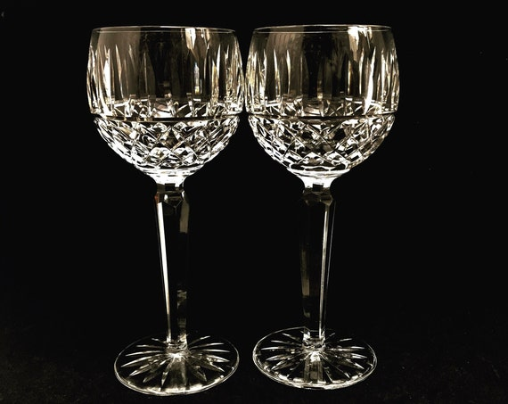 Wine glasses 2 Waterford Irish Crystal Cut Lismore Vintage Luxury Balloon Wine Glass White or red wedding gift replacement, Heavy wine hocks