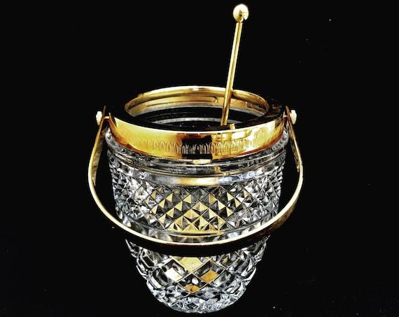 Ice Bucket heavy cut crystal with golden metal handles Mid Century barware  Mixology tools bar cart Hollywood Regency man cave gift