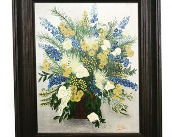 Still life Painting original Framed on canvas French Vintage wall art bouquet flowers acqua blue vase shabby chic decor golden  gift