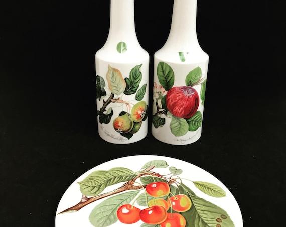 Portmeirion Pomona Vintage Vinegar Oil Bottle Trivet orange backstamp  plum cherries grapes gooseberries redcurrants gift collector