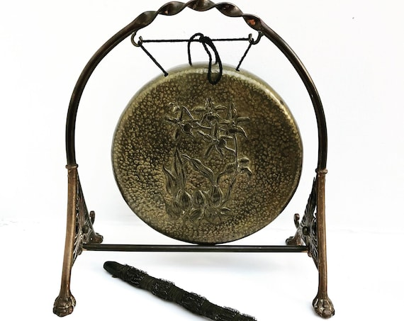 Gong stand Brass Dinner Call copper Arts & Crafts English Antique Table Gong meditation instrument Vintage drum prayer
