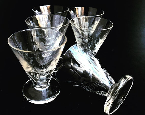 Vintage Liquor Glasses 6 Etched Crystal Footed Brandy Aperitif Glasses Liquor Cordials Mid century bar cart glasses Gift for him man cave