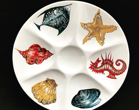 4 Oyster Plate Villeroy & Boch Majolica Set 4 French Faience Oyster Shell Starfish nautical decor beachside home decor kitchen coastal decor