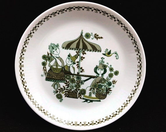 Figgjo Flint Entree plate Market Pattern Turi scandinavian design Norwegian tableware green set 4 Vintage Mid Century Christmas nordic table