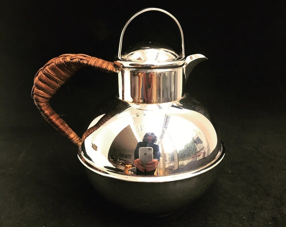 Teapot silver plated breakfast for one Vintage Silver Plate Tea Pot Single Serving Teapot,Wicker Handle wedding Gift Idea  milk jug pitcher