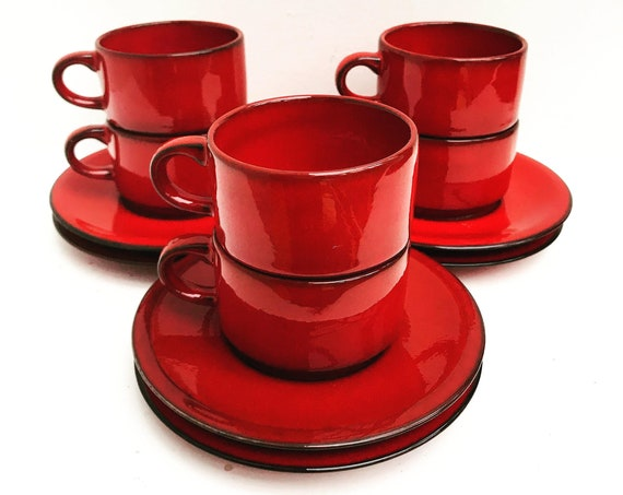 Coffee cup set 6 expresso red cups Villeroy and Boch Granada pattern Mid Century Small Coffee Cups Espresso and Saucers gift mom wedding