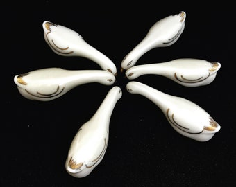 Art Deco Animal Knife Rests Geese Vintage Limoges Porcelain, Set of 6 Geese Cream and Gold French Cutlery Holders holiday table decor gift
