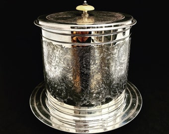 Biscuit Barrel Vintage Cookie Jar, Biscuit Box Victorian Silver Plated Biscuit Barrel Jar, Martin Hall & Co, England Gift for Her Victorian