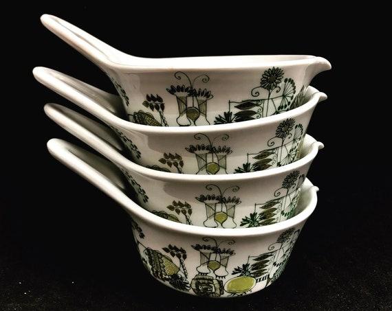 Figgjo Flint Market handled bowl set 4 sauces scandinavian design Norwegian tableware green set 4 Vintage Mid Century Christmas nordic table