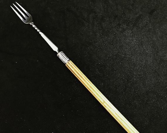 Pickle Fork Antique English Silver Plated Handled Pickle Fork C.1870 Victorian Gift For Him Olives Fork Bar Accessory Meat Server
