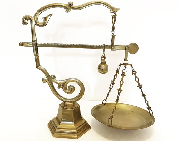 Balance Scale Brass Vintage Italian Tuscany counter groser shop kitchen decor rustic boho bronze accents 1940s market scale gift country