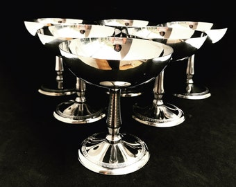 Ice Cream Set 6 Cups Stainless Steel, Vintage 18/8 Dessert Bowl, sorbet cup garden party table gift to her christmas table wedding gift
