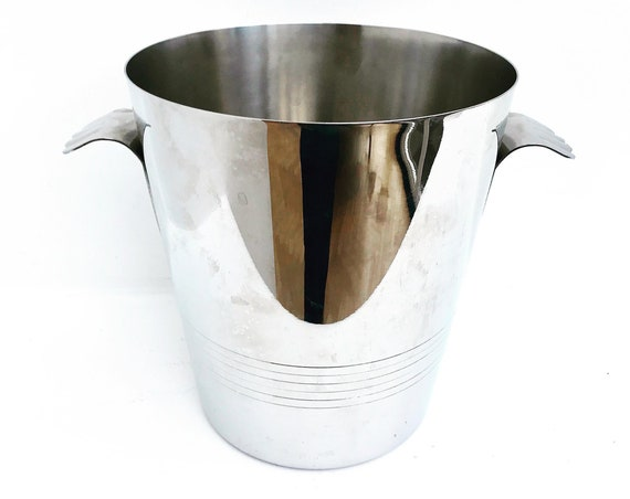 Champagne Bucket Letang Remy France Vintage  bottle bucket ice bucket two handles man cave gift stainless steel 18/10 wine cooler