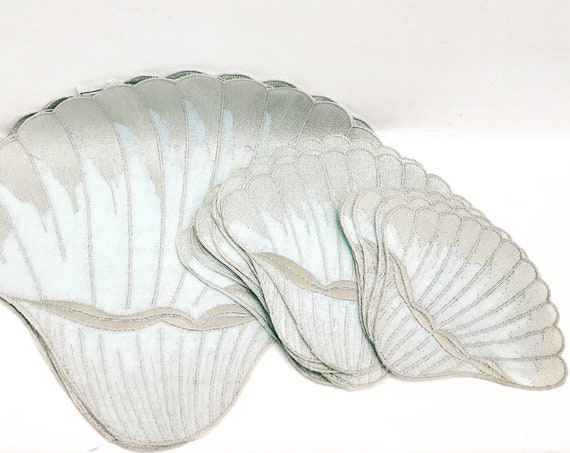 Seashell placemats vintage shell shaped  fabric table beach side home ocean table decor sea home Shell Placemat Bohemian embroidery gift