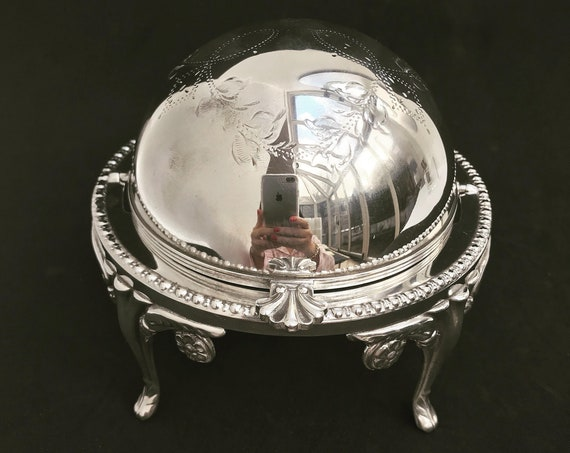 Butter Dish with Lid Roll top caviar dish Silver Plated Breakfast Set Vintage Butter globe domed Lidded Dish Antique English wedding gift