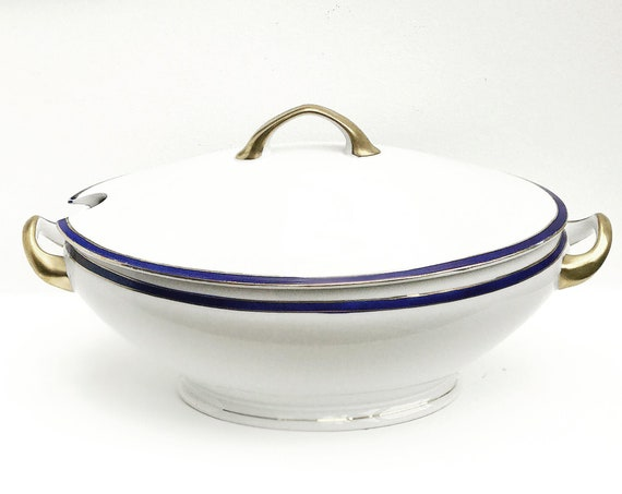 Vintage soup tureen with lid white blue gold porcelaine or vegetables dish oval covered
