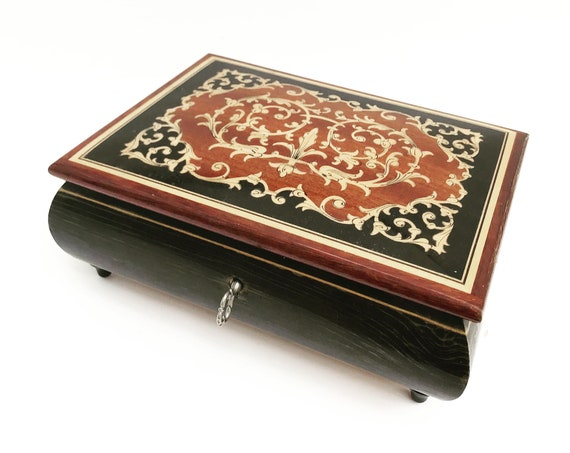 Trinket Wooden marquetry Jewelry Box, with key  Multipurpose Box mosaic, wood box vintage 60s