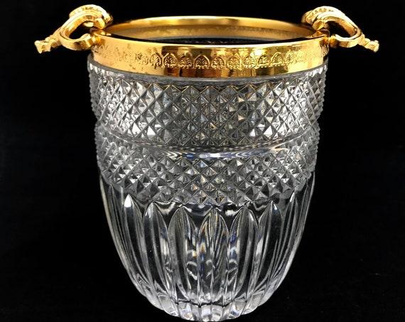 Ice Bucket heavy cut crystal with golden shell handles Mid Century barware  Mixology tools bar cart decor man cave gift Hollywood Regency