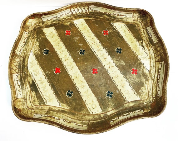 Florentine Golden Tray  Red blue and Gilt Old Italian Plateau 60s tray  in Florentine Style. Handmade christmas table gift for her