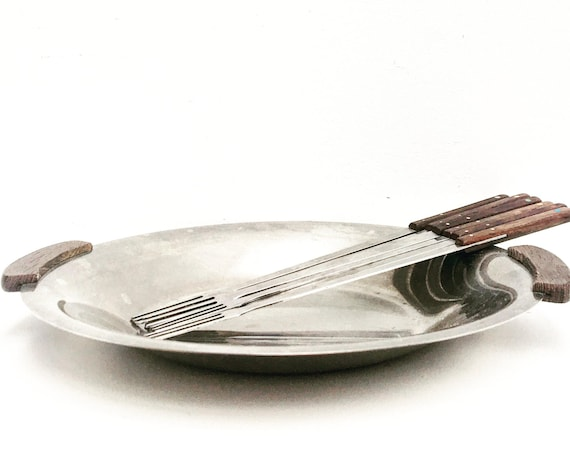 Fondue forks set cutlery barbecue accessories raclette plate, Scandinavian tray Mid Century  fondue bourguignonne meat tray chocolate 60s