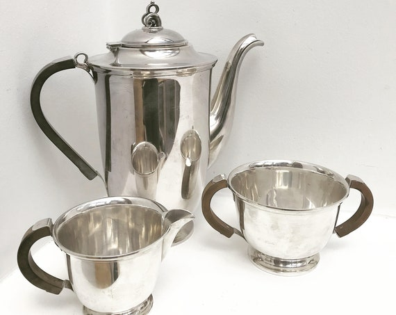 Coffee set or tea set silver plated Danish Design Scandinavian Mid Century Modern milk jug sugar bowl teapot wedding gift Modern decor
