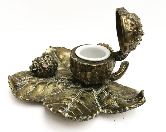 Bronze antique desk accessories office decor inkwell stand walnut shell  leaf  holder fall touches gift for him collector pen rest organizer