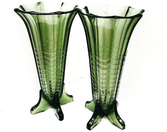Val Saint Lambert pair of vases Art Deco green glass Luxval collection model Montesquieu 1930s Vintage christmas gift