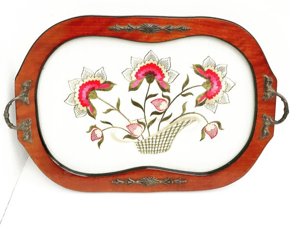 Antique serving tray wood and glass insert Embroidered rectangular tray drinks bar cart flowers art deco two handles gift mom wedding boho