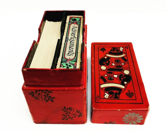 Playing card box vintage game box lacquer red and black for two decks Canasta Bridge play