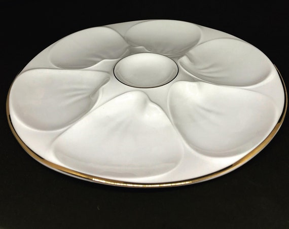 6 Oyster Plate Collection Porcelaine Edelstein Bavaria Germany Vintage white and gold rim rare unusual  Collectors  elegant dinner seafood