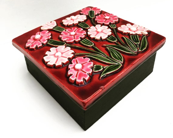 Francois Lembo Box Large Vintage Square Ceramic Jewelery flowers  pink bordeaux French Vallauris glazed  Mid Century French Vanity decor