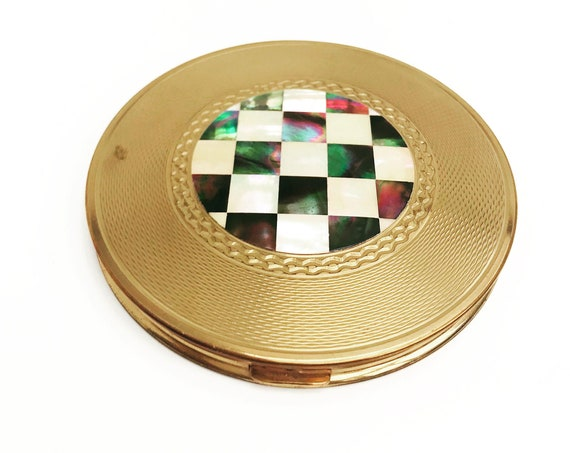 Vintage compact mirror powder Mother of Pearl round AGME Swiss Made  Vanity bag hand gift collection